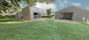 view 06 - Building B and C - view from garden towards south east elevations (scene 20)
